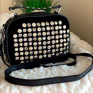 Crossbody Bag/Satchel w Velvet and Embellishments
